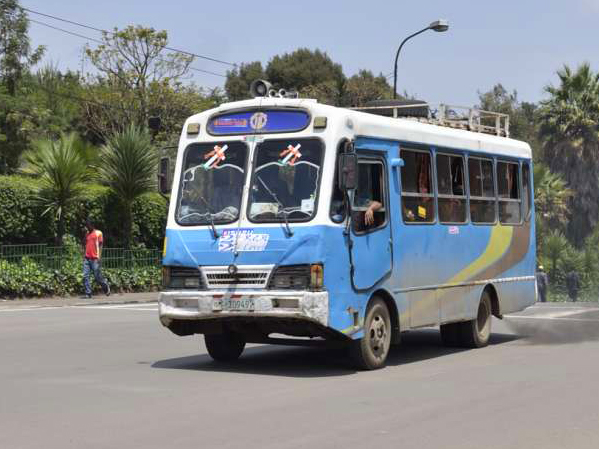 Blue and white bus in Addis Ababa Ethiopia