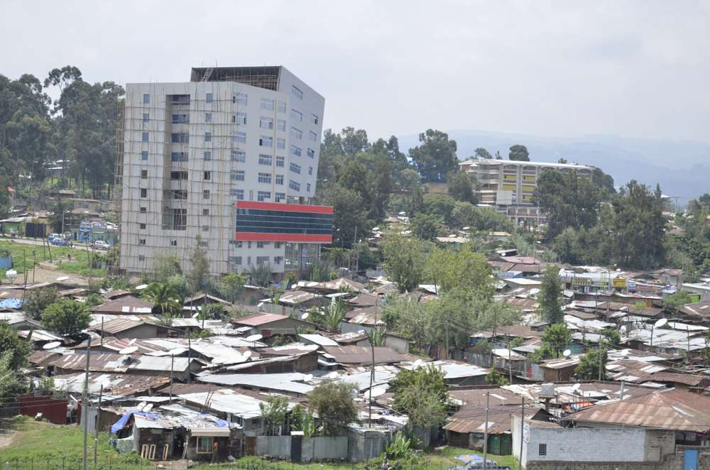Shanty town and modern tower block, Addis Ababa, Ethiopia