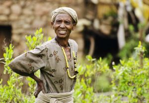 Rural Ethiopian woman standing with hand on hip
