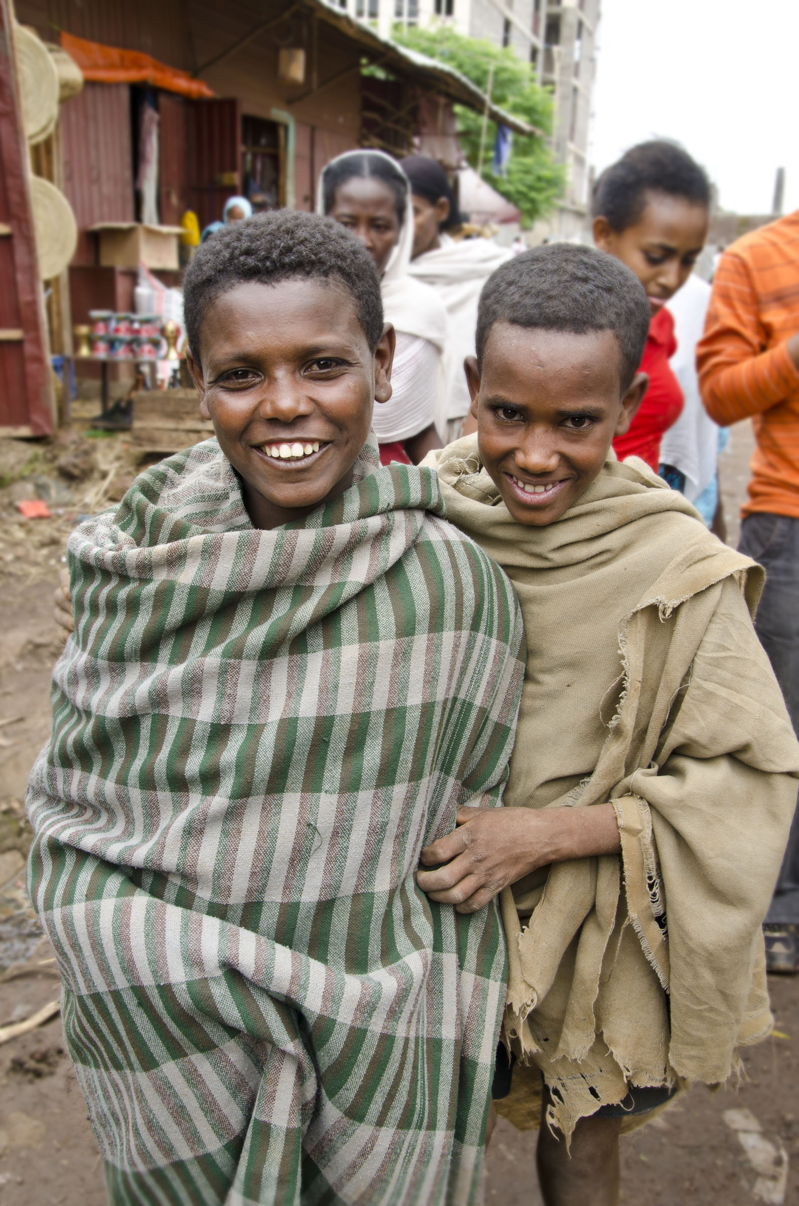 Teenage Ethiopian boys in traditional shawls