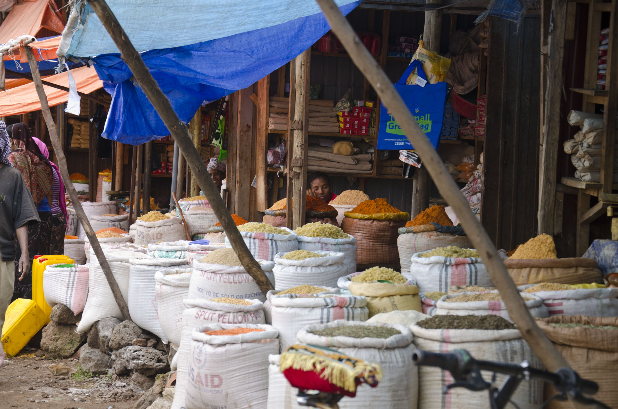 Sacks of grain and pulses on Ethiopian market stall