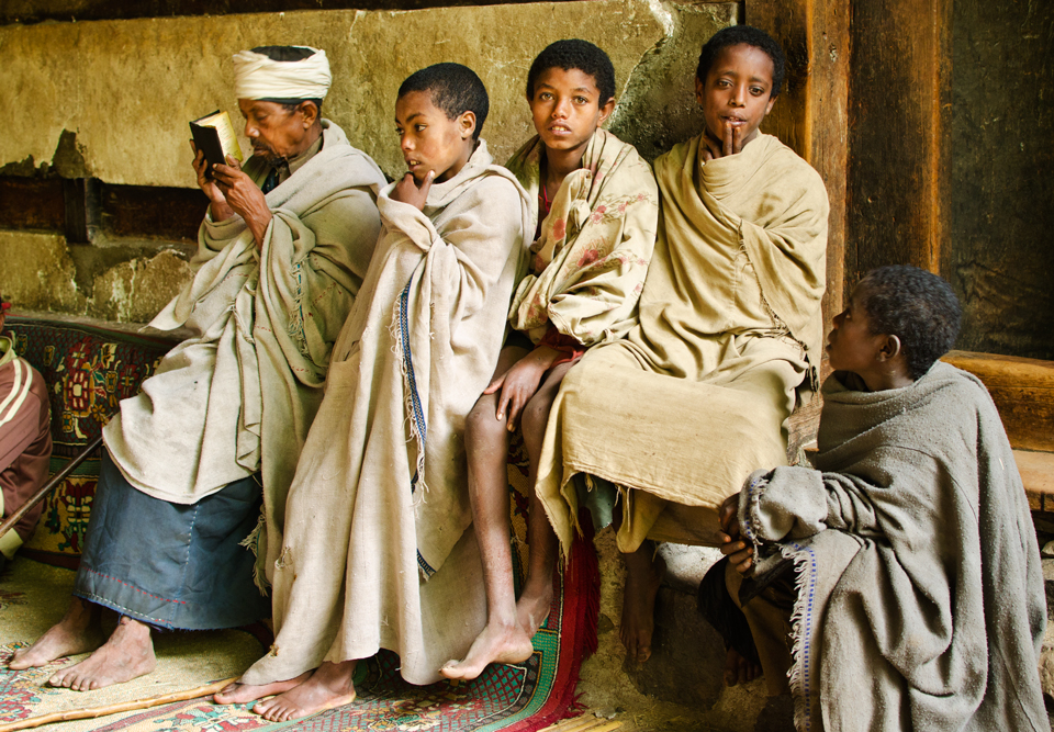 Priests and novices, Lalibela, Ethiopia