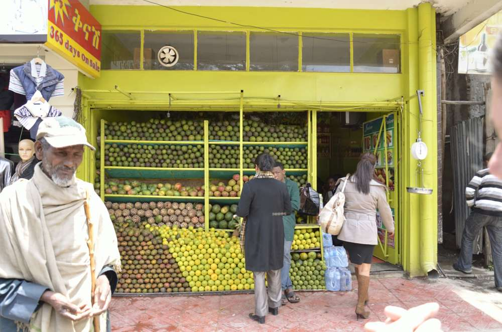 Fruit and vegetable shop in Addis Ababa, Ethiopia