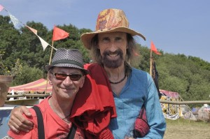 Musicians Dirty Ray and Arthur Brown at Glastonbury Festival in 2010