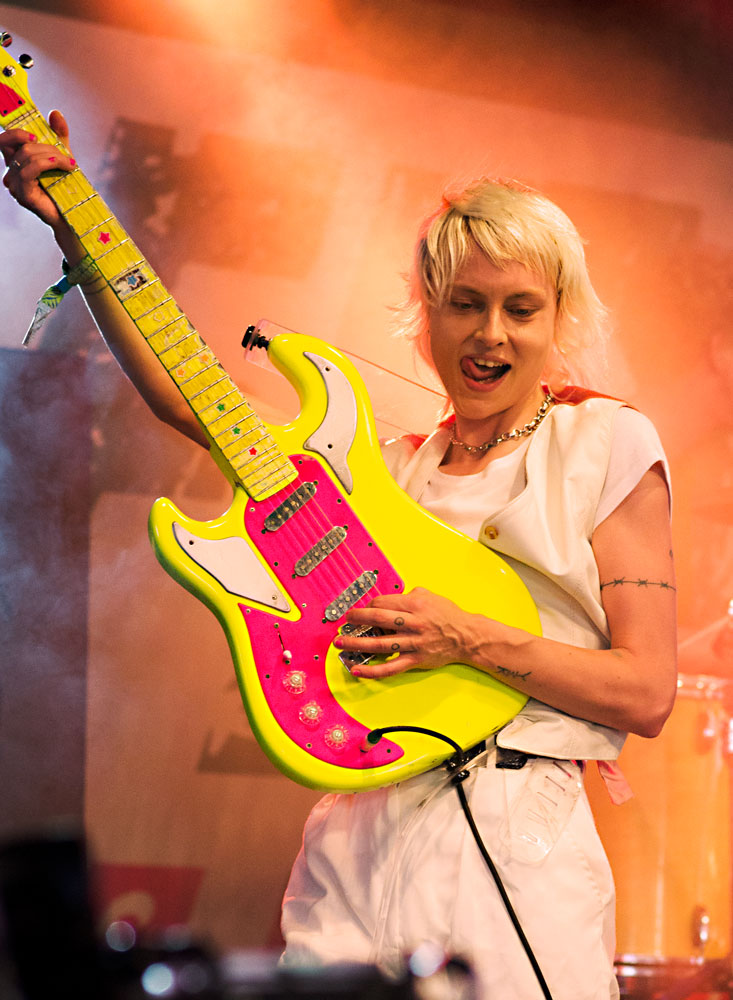 Alice Gough of Dreamwife live on Leftfield stage at Glastonbury 2019