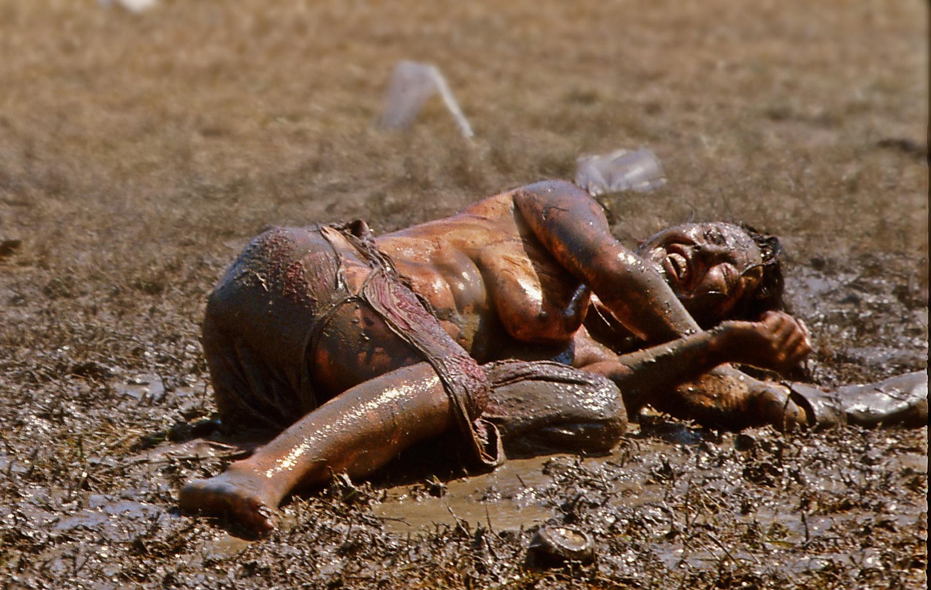Girl in the mud, Glastonbury Festival